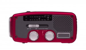 an emergency weather radio that is powered by batteries,solar,or hand crank.