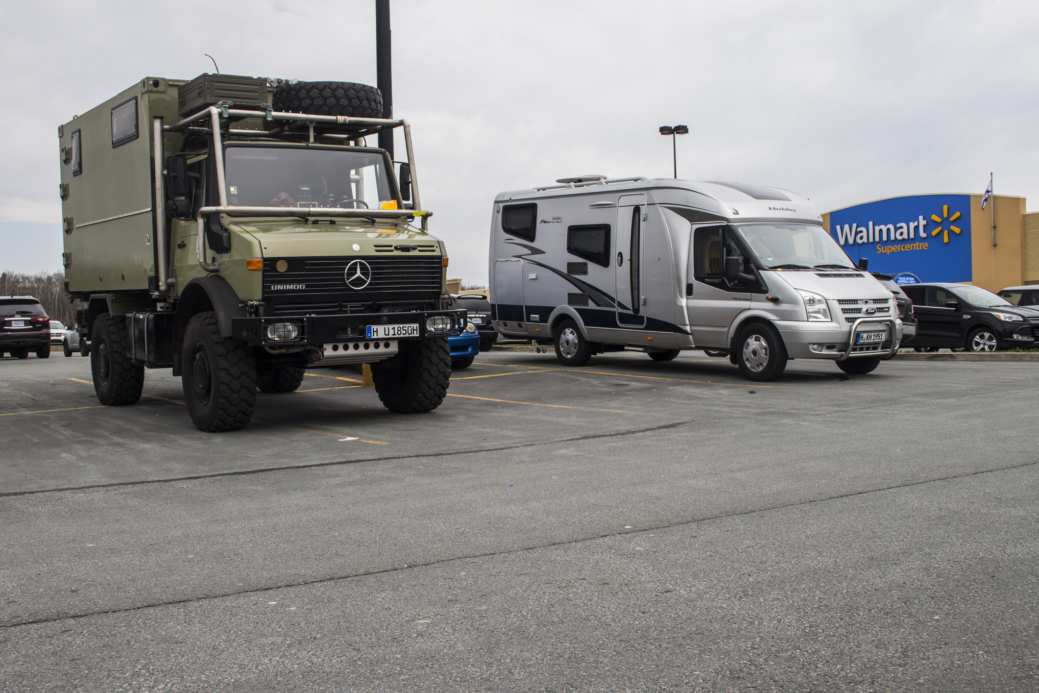 Bedford, Nova Scotia, Canada - May 14, 2016: European recreational vehicles camping overnight in a Walmart parking lot.