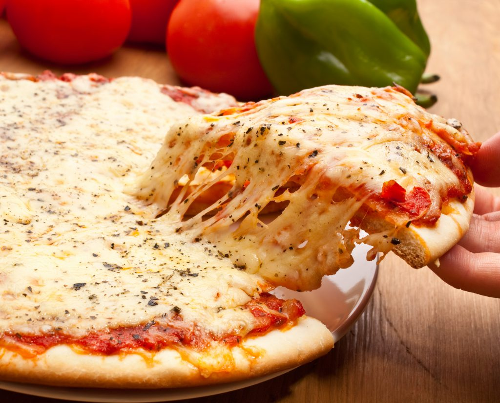 cheese pizza with melted cheese