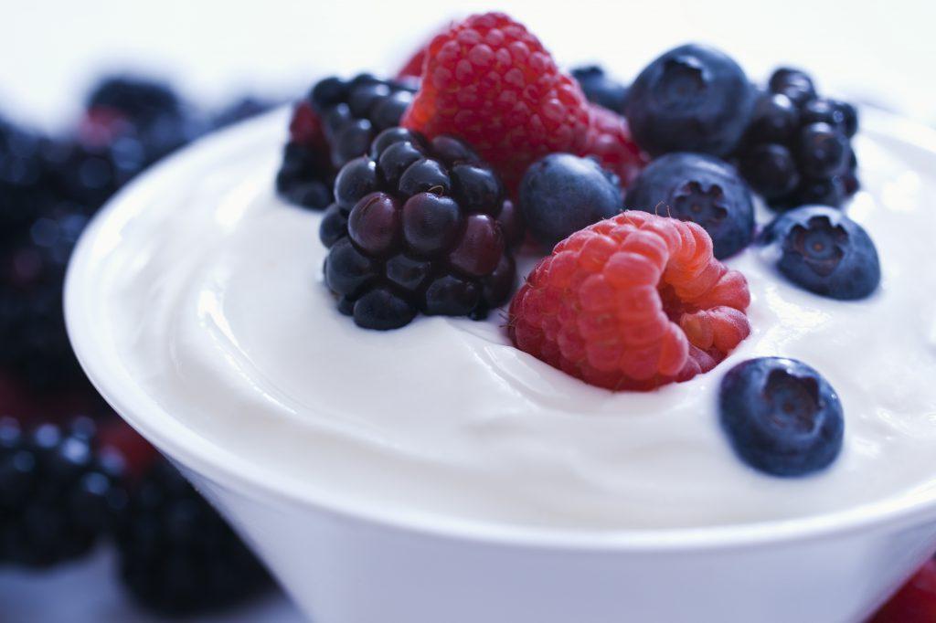 Yogurt and fruit.