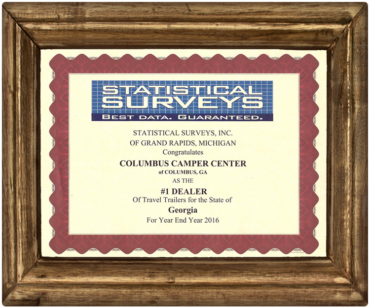 """Columbus Camper Center was awarded the title of """"#1 Dealer of Travel Trailers for the State of Georgia"""""""