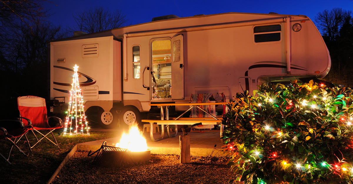 Camper in campsite during Christmas time
