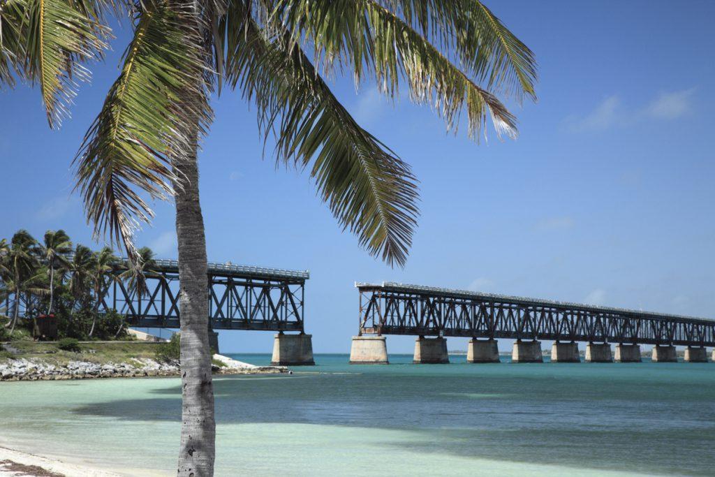 Closeup of the Bahia Honda bridge over water