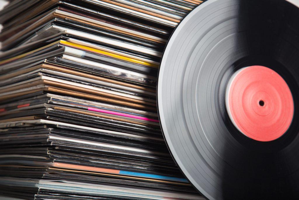 Vinyl records closeup