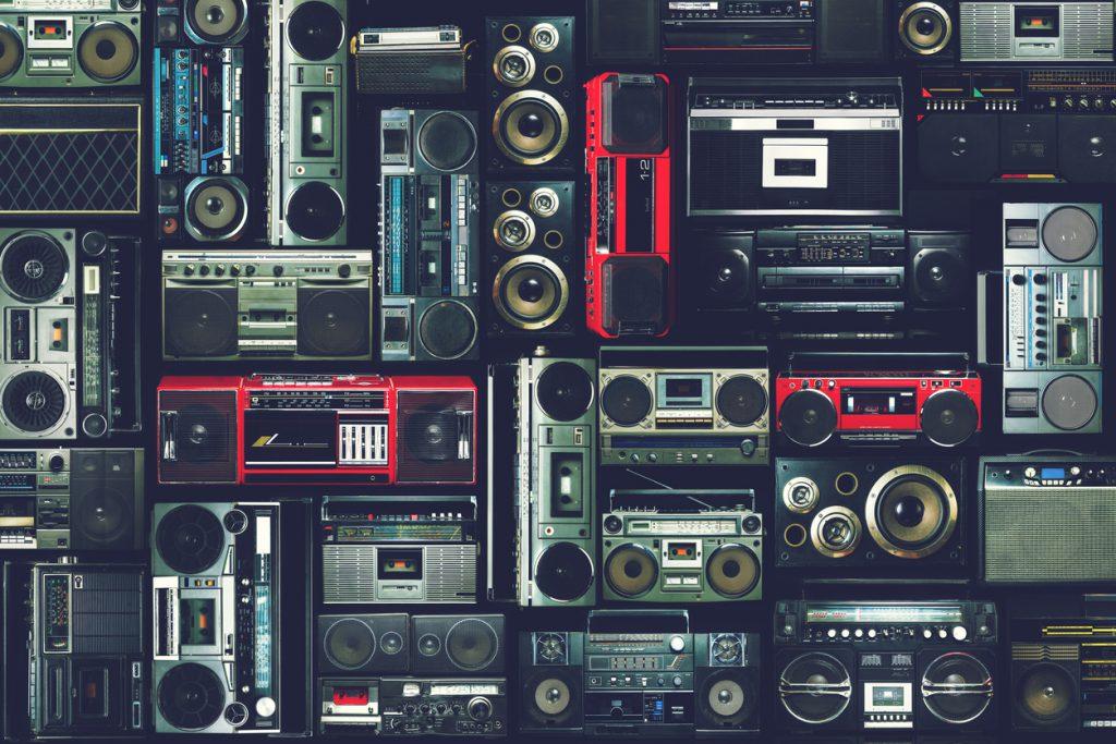 Vintage wall of radio boombox
