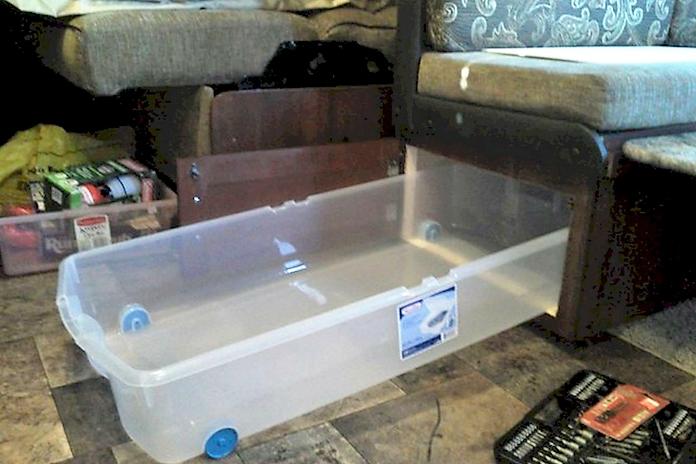 under booth DIY camper storage