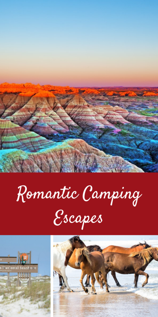 Romantic Camping Escapes from around the USA. These are some of the most beautiful destinations in the United States to see for a romantic getaway