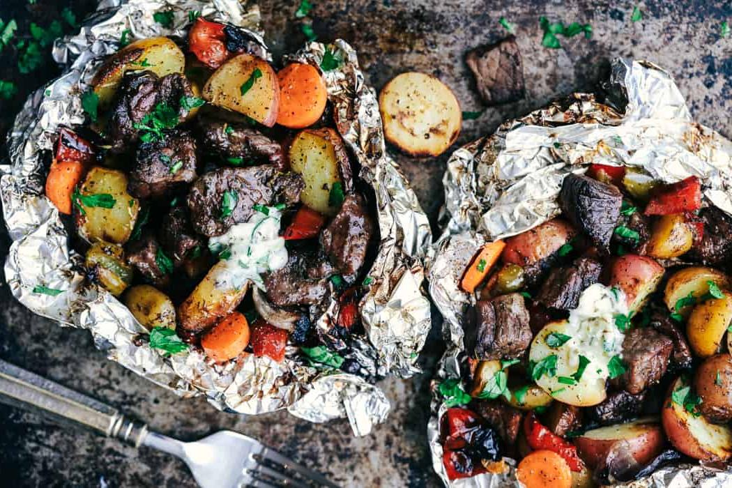 campfire foil pack recipes - Butter Garlic Herb Steak Foil Packets