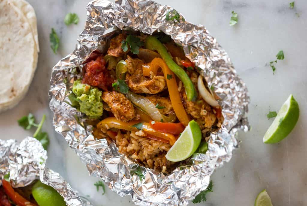 campfire foil pack recipes - Chicken Fajitas Foil Packets