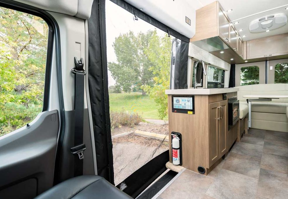Best Class Bs RV interior with screen to outdoors