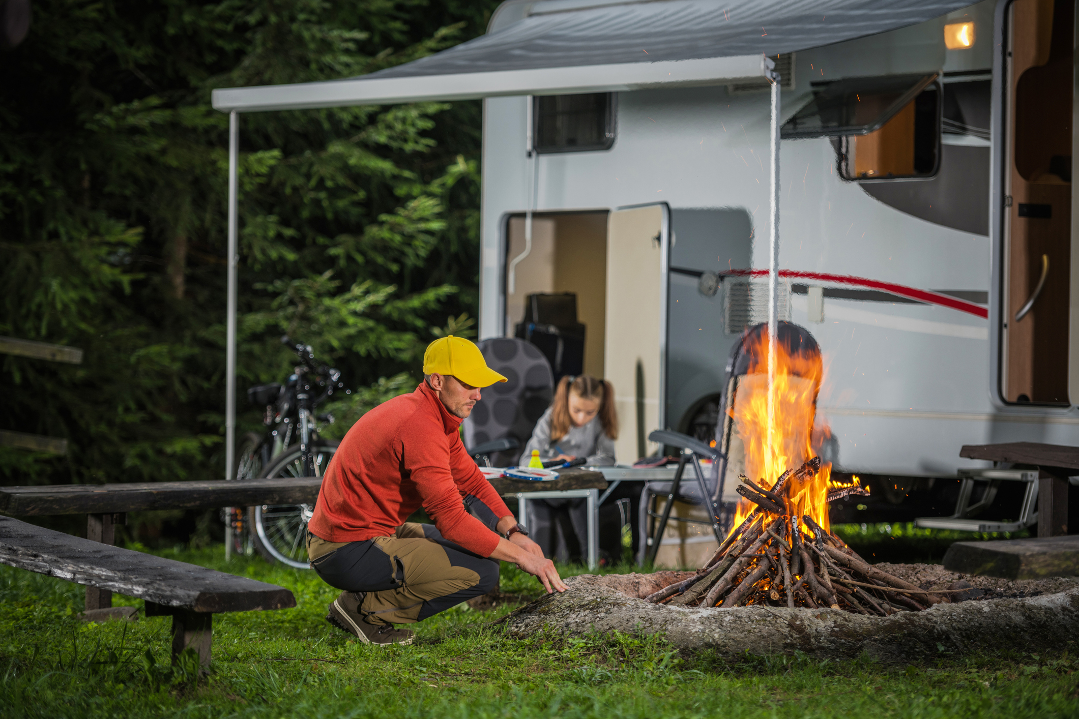 full-time RVing - family by campfire