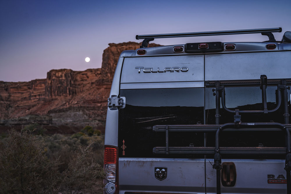 best Class B RVs back of a Tellaro logo showing at night