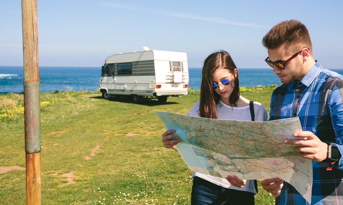 Couple works on RV travel planning