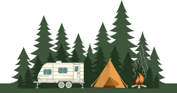 campground and travel trailer